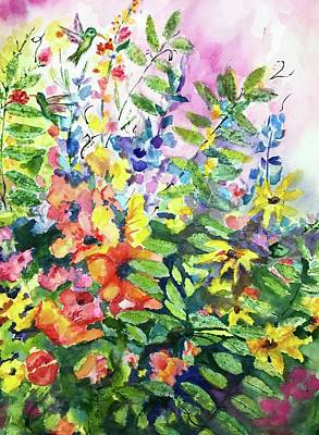 Painting - Spring Flora With Hummingbirds by Carol Warner