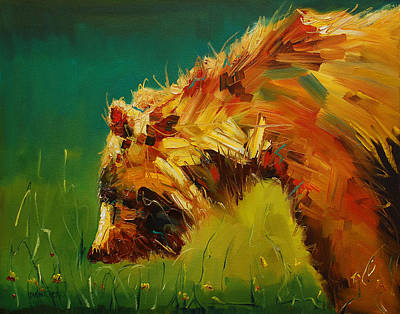 Diane Whitehead Art Original featuring the painting Spring Flower Bear by Diane Whitehead
