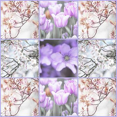 Photograph - Spring Flower Collage. Shabby Chic Collection  by Jenny Rainbow
