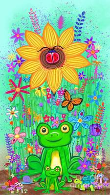 Digital Art - Spring Flowers And Frogs by Nick Gustafson