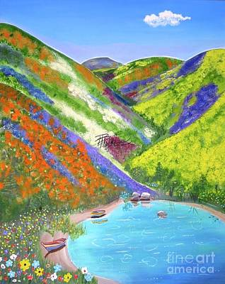 Painting - Spring Flowers And Lake by Phyllis Kaltenbach
