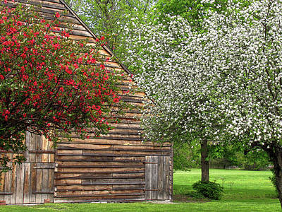 Photograph - Spring Flowers And The Barn by Nancy De Flon
