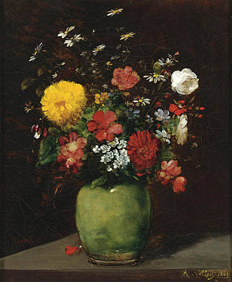 Painting - Spring Flowers In A Green Vase by Antoine Vollon