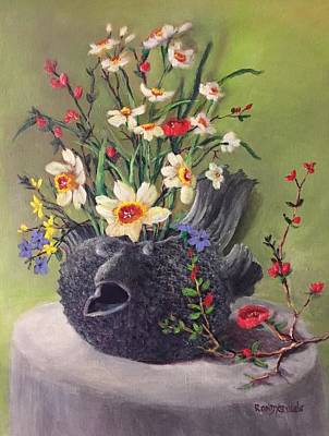 Daffodils Painting - Spring Flowers In A Pufferfish Teapot Vase by Randy Burns