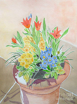 Painting - Spring Flowers In Pot by Yvonne Johnstone