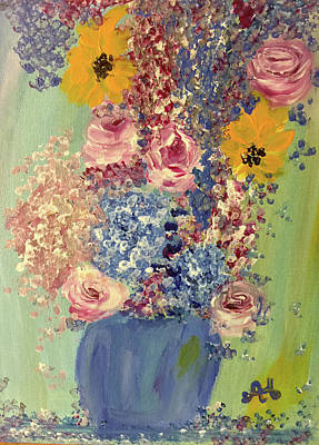 Painting - Spring Flowers In Vase by Angela Holmes