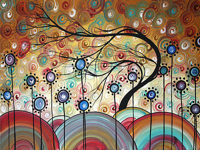 Spring Flowers Original Painting Madart Art Print by Megan Duncanson