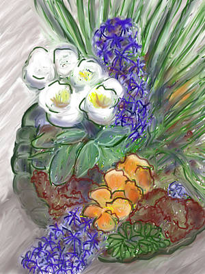 Painting - Spring Flowers With Red Lettuce by Jean Pacheco Ravinski