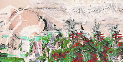 Abstract Painting - Spring Fog - Abstract Mixed Media Landscape Painting by Modern Art Prints