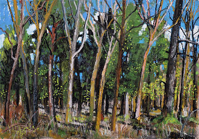 Painting - Spring Forest Oil Pastel Painting by Martin Stankewitz