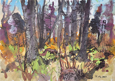 Painting - Spring Forest Sketch, Gouache And Ink by Martin Stankewitz
