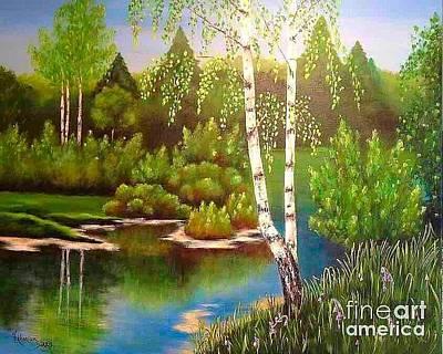 Pallet Knife Painting - Spring Forest by Viktoriya Sirris
