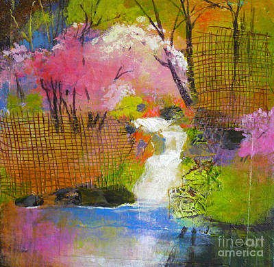 Abstract Collage Painting - Spring Garden by Melody Cleary