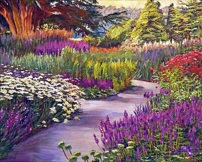 Bed Painting - Spring Garden Path by David Lloyd Glover