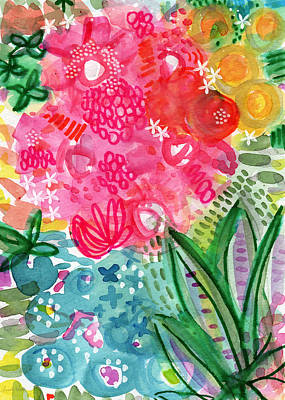 Abstract Flowers Mixed Media - Spring Garden- watercolor art by Linda Woods