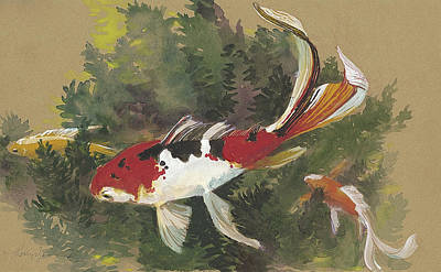 Goldfish Wall Art - Painting - Spring Goldfish II by Tracie Thompson