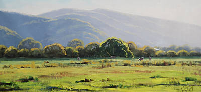 Impressionism Royalty-Free and Rights-Managed Images - Spring Grazing Tumut Australia by Graham Gercken