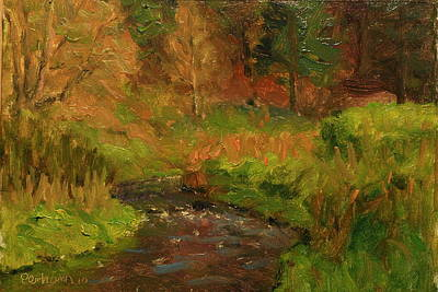 Painting - Spring Greens Kaikorai Stream by Terry Perham