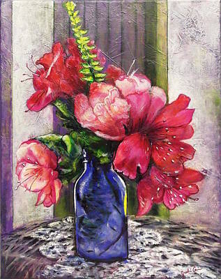 Spring In A Blue Bottle Original by Judi Cain