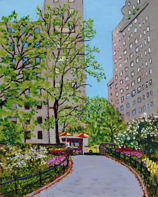 Taxi Stands Painting - Spring In Central Park Nyc by Jeannie Allerton