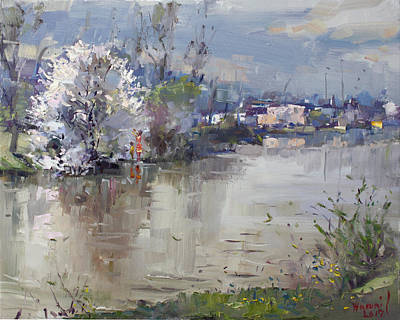 Reflection Painting - Spring In Hyde Park by Ylli Haruni