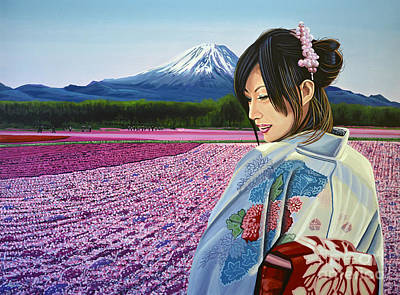 Painted Landscape Painting - Spring In Japan by Paul Meijering