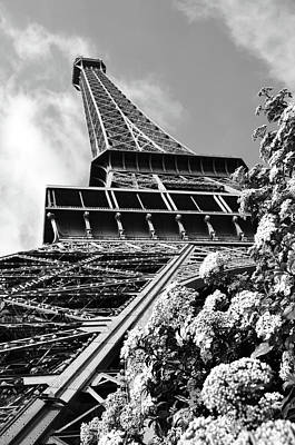 Photograph - Spring In Paris France Flowers Beneath Eiffel Tower Unique Perspective Black And White by Shawn O'Brien