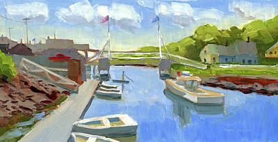 Spring In Perkins Cove Art Print by Mary Byrom