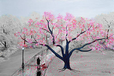 Cherry Blossom Painting - Spring In The Park Pink by Ken Figurski