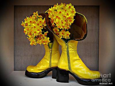 Photograph - Spring In Yellow Boots by AmaS Art