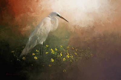 Egret Mixed Media - Spring Is Here by Marvin Spates