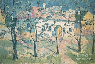 Garden Scene Painting - Spring by Kazimir Severinovich Malevich