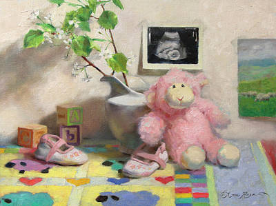 Baby Shower Painting - Spring Lambs by Anna Rose Bain