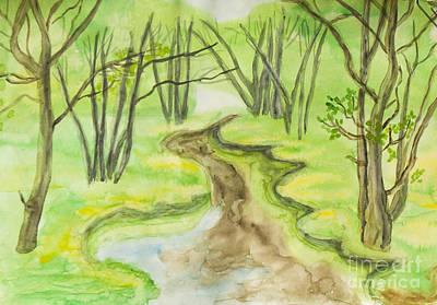 Painting - Spring Landscape, Watercolours by Irina Afonskaya