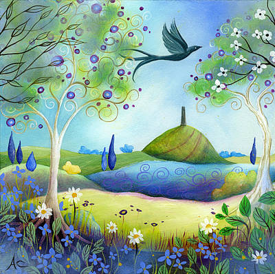 Folkart Painting - Spring Light by Amanda Clark