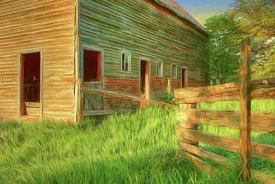 Photograph - Spring Light - Barn - Fence by Nikolyn McDonald
