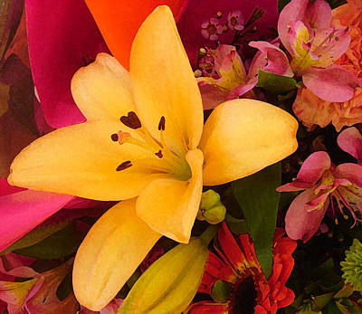 Lilies Royalty-Free and Rights-Managed Images - Spring Lily Bouquet by Amy Vangsgard