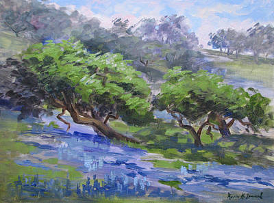 Iconic Painting - Spring Lupine And Oak by Karin  Leonard