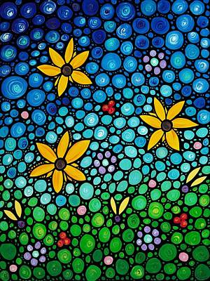 Abstract Flower Painting - Spring Maidens by Sharon Cummings