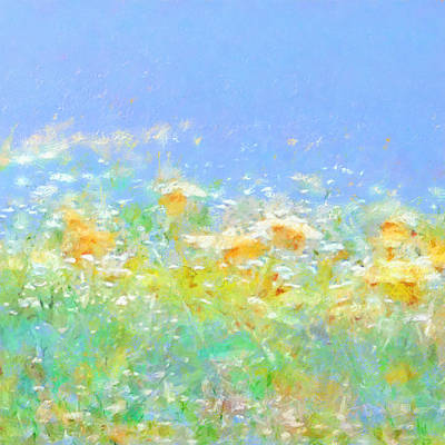 Painting - Spring Meadow Abstract by Menega Sabidussi