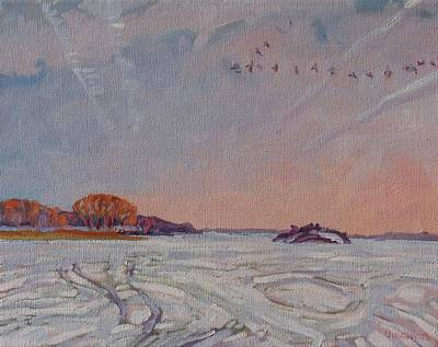 Canadian Geese Painting - Spring Migration by Phil Chadwick