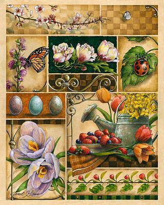 Americana Licensing Painting - Spring Montage by Janet Stever