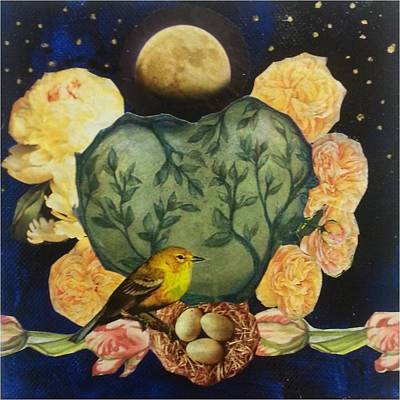 Spring Greening Mixed Media - Spring Moonrise by Jo Thompson
