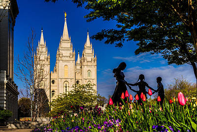 Photograph - Spring Morning At Temple Square by TL  Mair