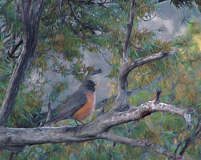 Digital Art - Spring Morning Robin Da by Ernie Echols