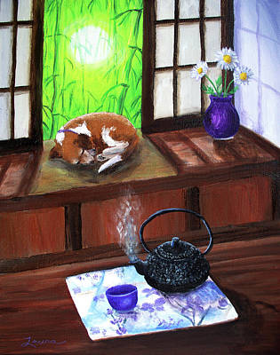 Beagle Dog Painting - Spring Morning Tea by Laura Iverson