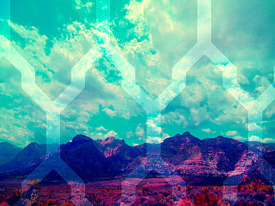 Las Vegas Artist Mixed Media - Spring Mountain Shine by Michelle Dallocchio