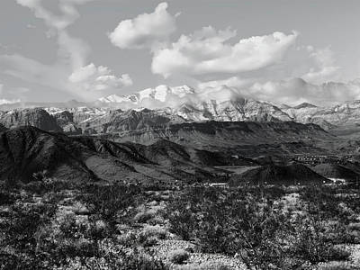 Photograph - Spring Mountains In Winter Black And White by Alan Socolik