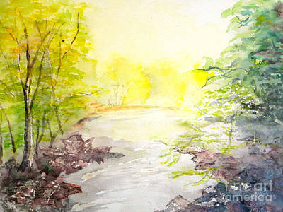 Steele Painting - Spring On A Mountain Stream by Tina Steele Penn