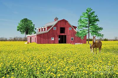 Spring On The Farm Art Print by Bonnie Barry